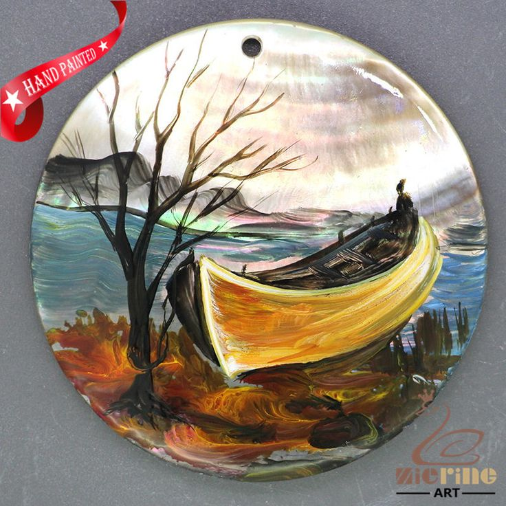 Hand Painted Lake  Scenery Art Painting Boat Pendant  Black Lip Shell ZL303754 #ZL