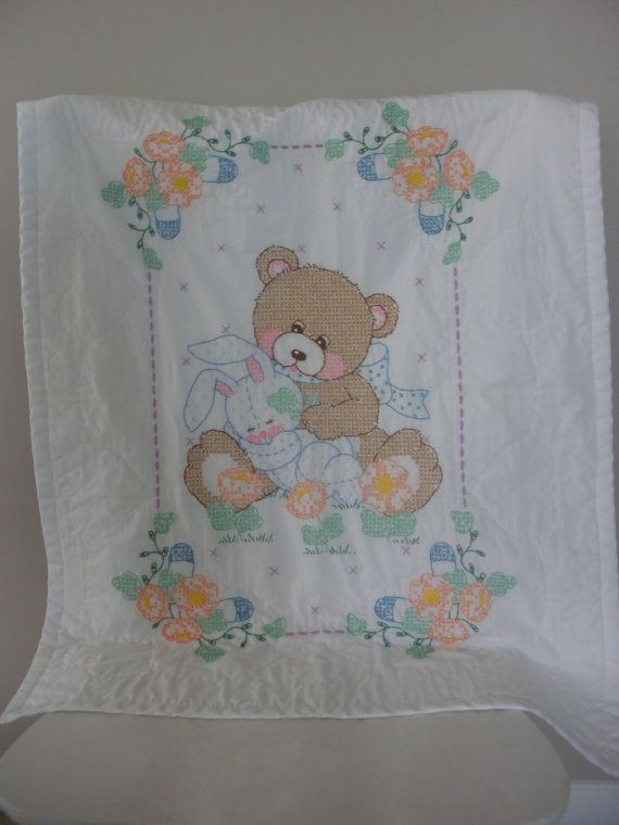 Adorable Hand Embroidered Baby Blanket / Teddy Bear and Bunny Rabbit / Nursery Decor / Tummy Time Blanket / Stroller or Carseat Blanket