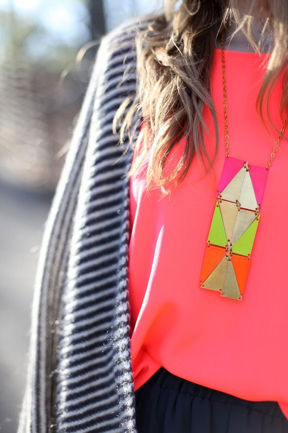 aztec necklace: Neon Necklace, Fashion, Style, Statement Necklace, Color, Dream Closet, Jewelry, Necklaces, Accessories