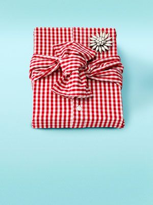 Ready-to-Wear: Thrift store shirts + brooches as gift wrap