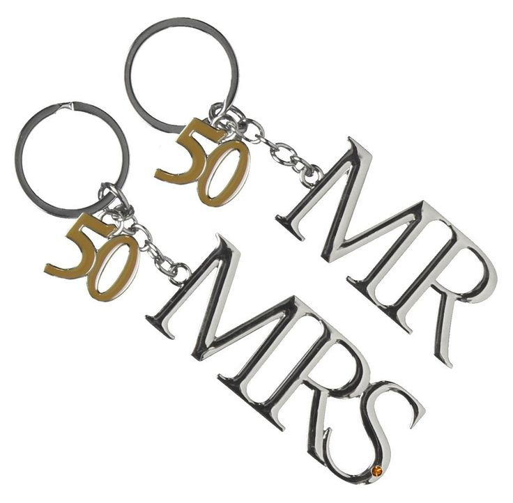 Amazon Set Of 2 Silverplated Key Chains Mr Mrs 50th Anniversary GiftsWedding