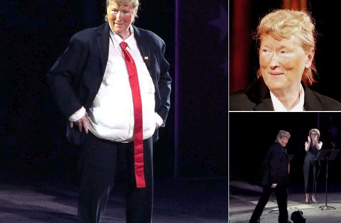 Meryl Streep sorprendió la noche del lunes 6 de junioa la audiencia dela Shakespeare in the Park Public TheaterGala, en Nueva York,por su imitación humorística de Donald Trump, de acuerdo con informaciones recogidas por el sitioThe Rollcall. Cualbufón, la actriz llevaba un traje que le añadía unos