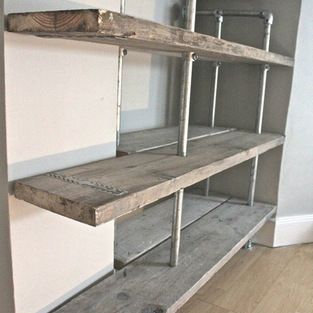 Industrial Urban Furniture and Accessories - Pair of Reclaimed Scaffolding Boards and Steel Pipe Shelving/Bookcase with a Central Clothes Ra...