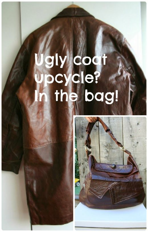 ReFab Diaries: Repurpose: Leather Coat to Bag - step by step tutorial - Bildanleitung - you'll find here http://luzpatterns.com/2013/11/21/diy-upcycling-an-old-leather-coat-into-a-leather-bag/