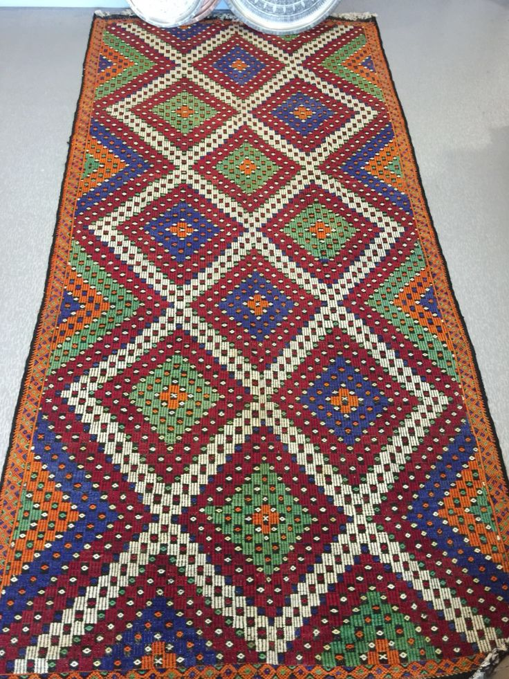 "LARGE TURKISH KILIM RUG, 386 x 188 cm ( 151 "" x 74 "" )"