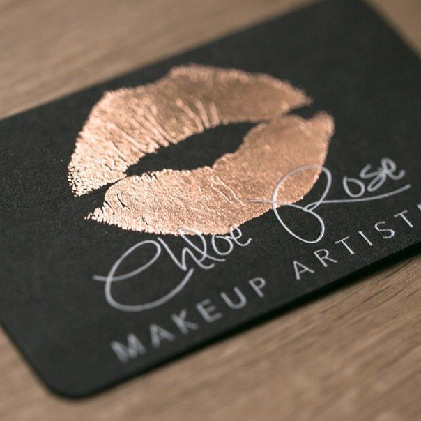 Elegant sturdy black business cards with rose gold white foil for a makeup artist trendy design with a touch of sophistication