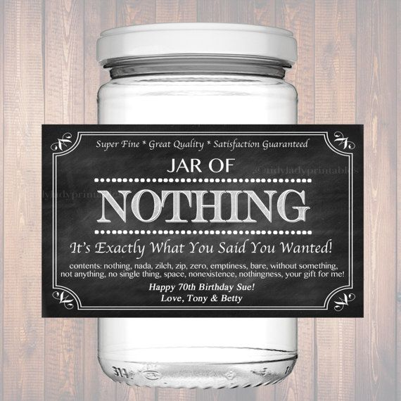 Best 25 gag gifts birthday ideas on pinterest funny 50th editable jar of nothing label chalkboard label personalized gag gift holiday gift christmas gift solutioingenieria Choice Image