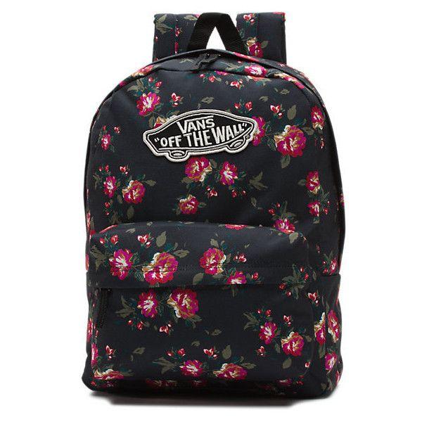 Realm Backpack (125 BRL) ❤ liked on Polyvore featuring bags, backpacks, floral black black, backpacks bags, vans bag, floral rucksack, flower print backpack and floral bag