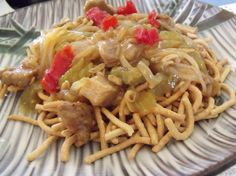 Pork Chow Mein in 30 Minutes - I did it a little differently (no pimentos, pork marinated in char siu then broiled, etc., added 1 tsp sugar + 1 tsp msg to soy ... but was good after the changes)