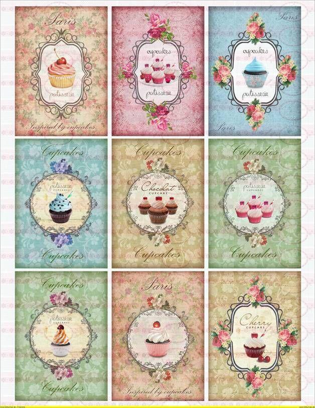 9 Bügelbilder Shabby Nostaligie Cupcake Paris