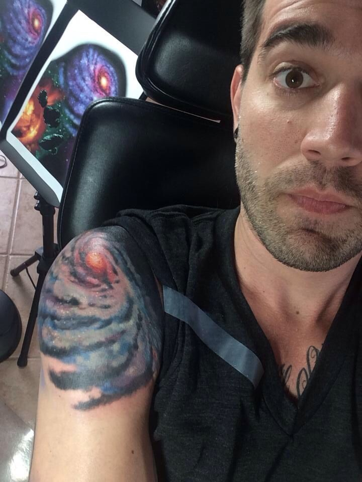 Charles Trippy shoulder Galaxy tattoo!! This looks amazing!!