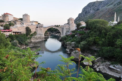 Old Bridge Area of the Old City of Mostar. Bosnia.