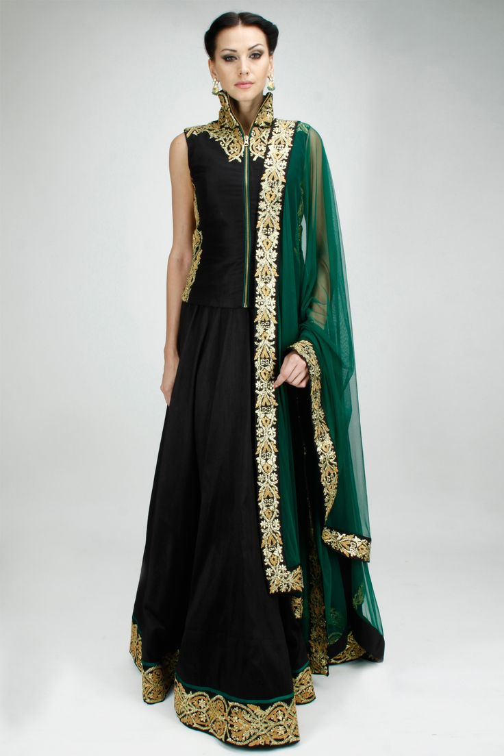 Black and green embroidered lehenga set available only at Pernia's Pop-Up Shop.