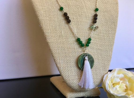 White Tassle Necklace  Long Necklace  Earth by GreenGeckoJewellery