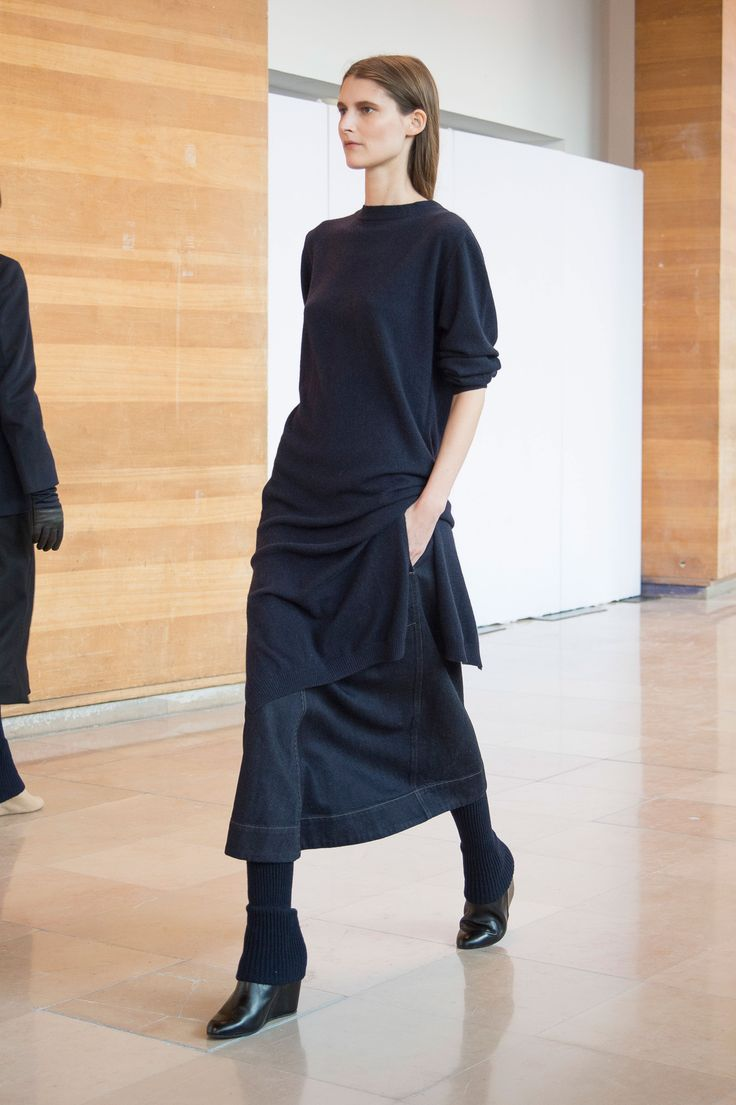 4. Crewneck dress in cashmere wool / Flared skirt in cotton denim with selvedge / Gaiters in knitted yak wool / Boots in calf leather