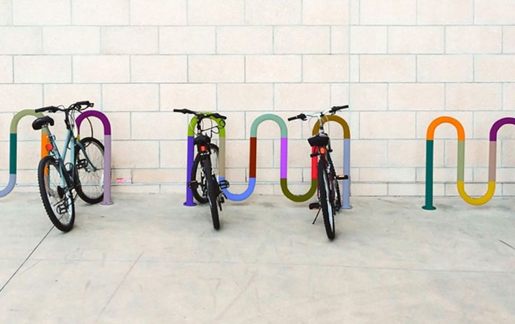 Colorful bicycle parking