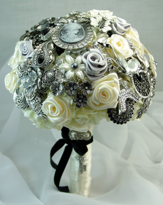 Black and white brooch wedding bouquet Deposit on by annasinclair, $75.00