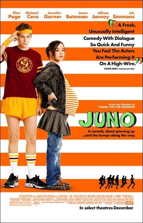 Juno (2007) Dir: Jason Reitman Juno ten 16 anos, é enxeñosa, culta, rápida, observadora e, sobre todo, sarcástica. Quédase embarazada. Ao seu noivo non lle interesa o asunto. Juno está soa co seu problema pero xa tomou unha decisión: terá o neno e darao en adopción. Hai que atopar pais adoptivos adecuados. Son Mark e Vanessa, e son ideais. Só que Mark comparte demasiado con Juno, demasiadas afeccións comúns e un entendemento a primeira vista.