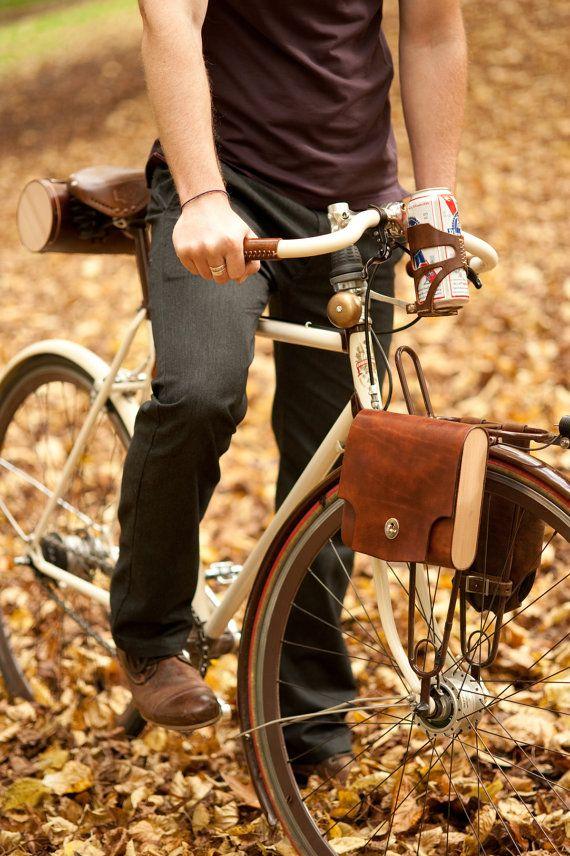 El Pannier de bolsillo cuero y madera bicicleta por WalnutStudiolo