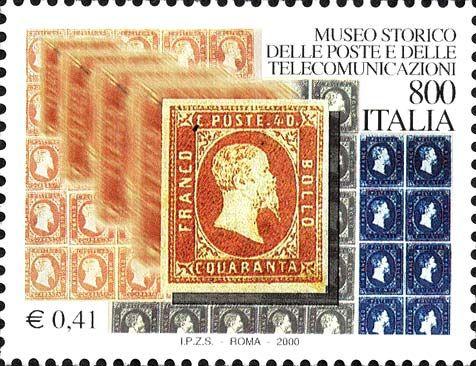 """2000 - """"I tesori dei musei e degli archivi nazionali"""": Museo storico delle poste e telecomunicazioni - Francobolli di Sardegna"""