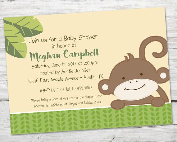 Singe bébé Shower Invitation, sexe neutre Baby Shower, singe bébé douche décorations, imprimables, singe Baby Shower invitation