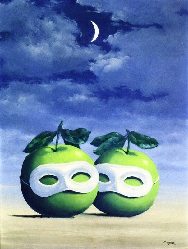 """""""The Married Priest"""" or """" The Hesitation Waltz"""" -- 1950 -- Rene Magritte -- Belgian -- Oil on canvas."""