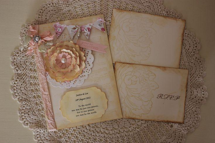 Pretty peony wedding invitation, vintage, shabby chic handmade stationery.. $7.25, via Etsy.