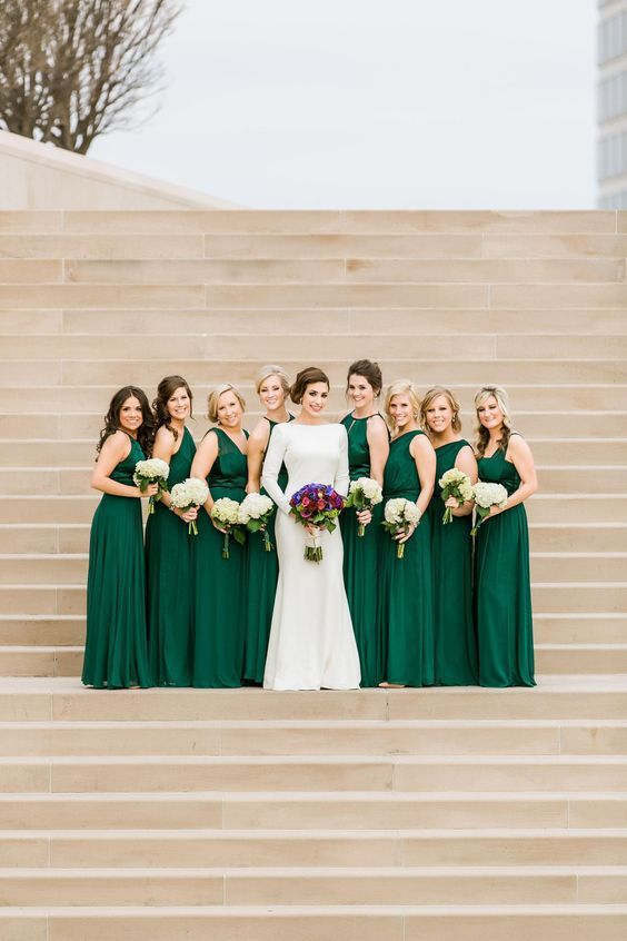 Emerald Green Long Bridesmaids Dresses