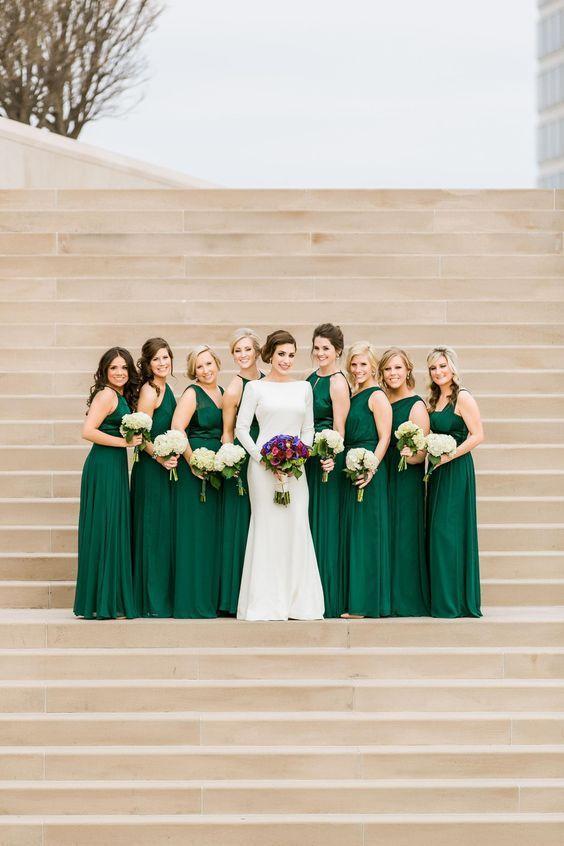 Emerald Green Long Bridesmaids Dresses