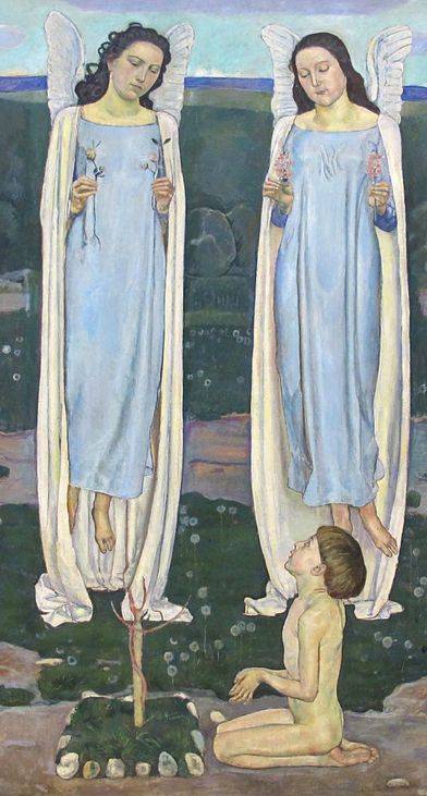 Painting by Ferdinand Hodler, ca. 1893, The Chosen One (detail). . #Parallelism