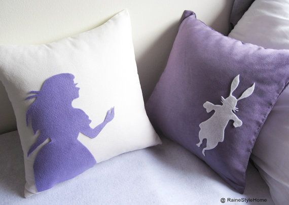 Alice And Rabbit In Wonderland. White and Purple Pillow Covers Set.