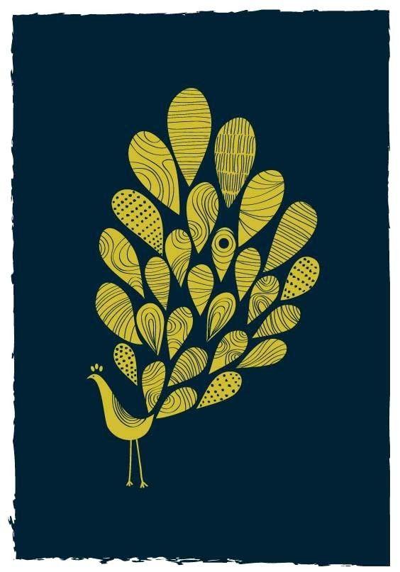 Reverse block print?Peacocks Prints, Decor Ideas, Colors, Art Prints, Dekanim, Golden Yellow, Bedrooms Art, Animal Illustration, Art Painting