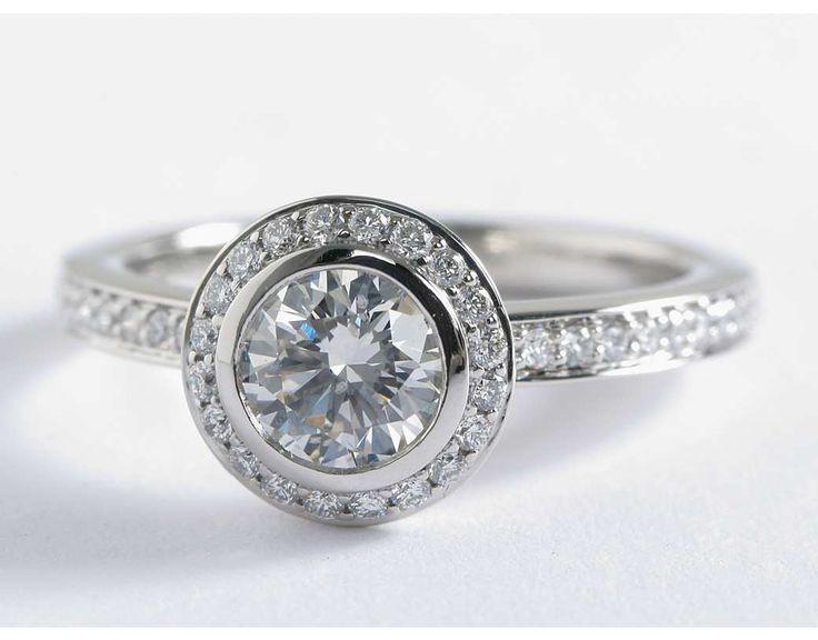 Bezel-Set Halo Pavé Diamond Engagement Ring in Platinum (1/2 ct. tw.)