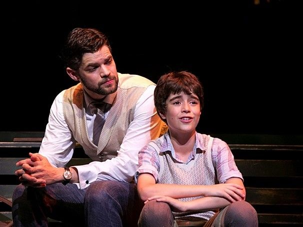 Jeremy Jordan as J. M. Barrie and Aidan Gemme as Peter Llewelyn Davies in Finding Neverland