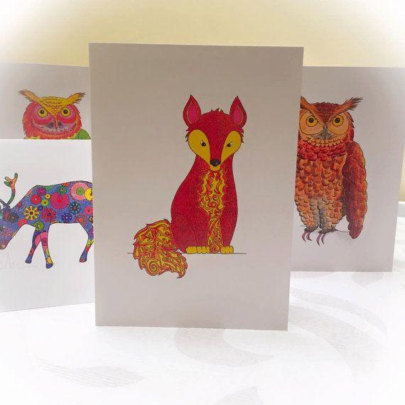 Woodland Animals Cards Forest Owl Fox Deer by HelloDeerDesigns