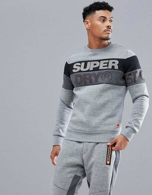 ec211792c2279d Superdry Sport gym tech cut crew neck in grey in 2019 | V mart | Mens  clothing styles, Mens sweat suits, Men