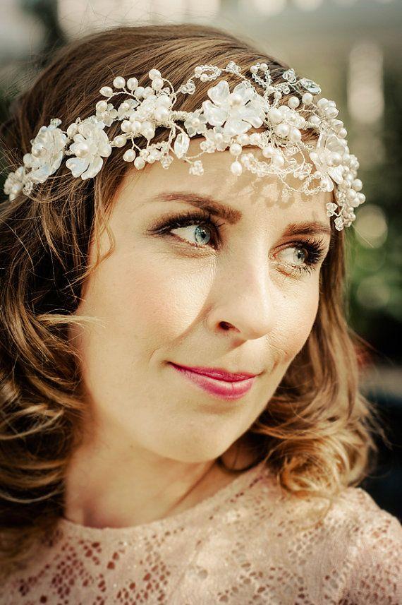 WEDDING HEADBAND Bridal floral crown by hairbowswonderworld