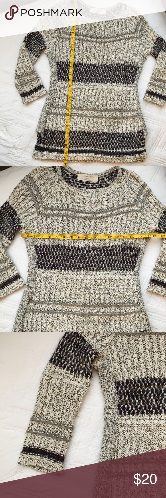 💎FREE(see details) Zara Knit sweater There is an hole/area of pulling in the stitches, see photos. Could be sewn to fix. See photos for measurements and materials. Size says large but it runs small, listed as medium. 💎 WINTER CLEARANCE This item applies for freebie bundle deal. Item will be shipped free with full price bundle (at least 2 items) purchase. Once bundle has been purchased, comment on photo of item you would like to add for free 💎 Zara Sweaters