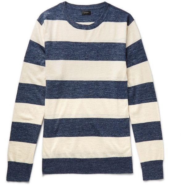 J.Crew Striped Knitted Sweater ($80) ❤ liked on Polyvore featuring men's fashion, men's clothing, men's sweaters, mens crew neck sweaters, mens striped sweater, j crew mens sweaters, old navy mens sweaters and mens ribbed sweater