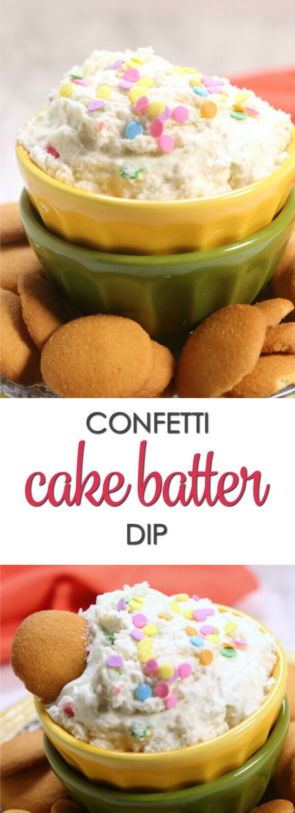 This easyConfetti Cake Batter Dip uses a three simple ingredients and takes only minutes to make. It's an easy sweet treat that's always a crowd pleaser. #EasyRecipe #PartyFood #DipRecipe