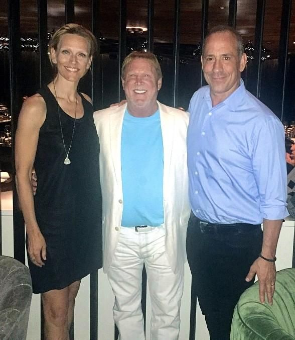 In between pre-season games against the Dallas Cowboys and Seattle Seahawks, owner of the Oakland Raiders, Mark Davis, dined at brothers David and Michael Morton's MB Steak at Hard Rock Hotel & Casino in Las Vegas last night (Pictured: Michael and Jenna Morton with Mark Davis – Photo Courtesy of MB Steak).