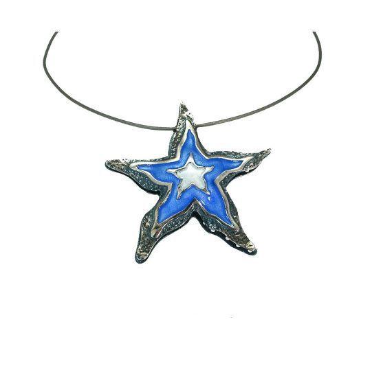 #Starfish Silver Necklace, Enamel Necklace, #Seastar Shell, Summer Necklace, Beach Wedding #Necklace, Enamel Jewelry, Summer Jewelry