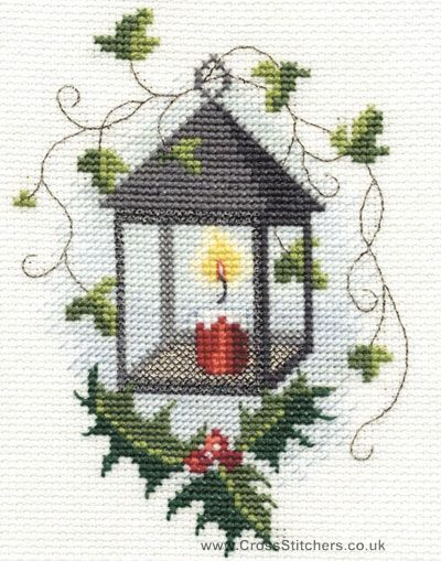 christmas cross stitch patterns | Christmas - Lantern Christmas Greetings Card Cross Stitch Kit from ...