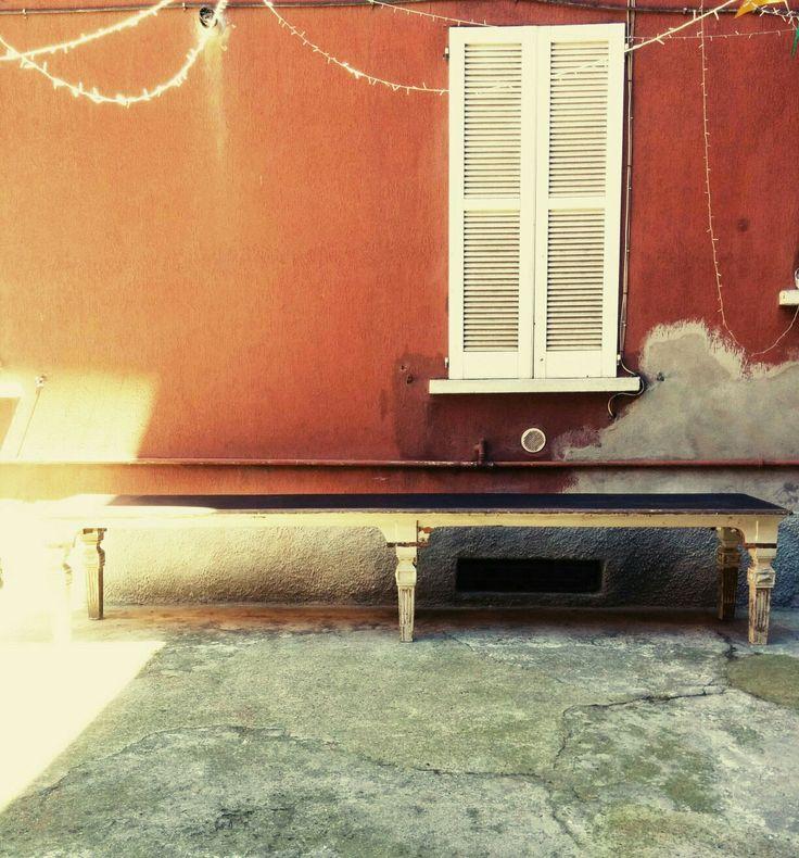 Tavolo fratino del 700 in legno duro, con piano verniciato lavagna. Tutto in massello. Misure 400x75x75h #magazzino76 #viapadova #Milano #nolo #viapadova76 #M76 #modernariato #vintage #industrialdesign #industrial #industriale #furnituredesign #furniture #mobili #modernfurniture #antik #antiquariato  #armchair #chair #sofa #poltrone #divani #tavoli #table