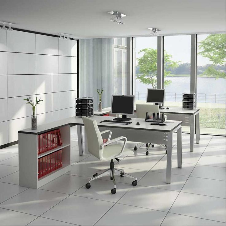 Desk Office Design with panelled glass