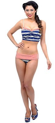 Blue, Red & Cream Striped Nautical Bandeau Bikini