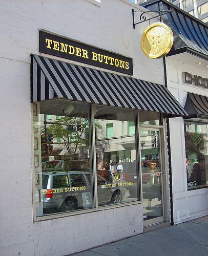 Tender Buttons Storefront by Atelier Teee (on hiatus), via Flickr..simple atractive, great branding with blade sign