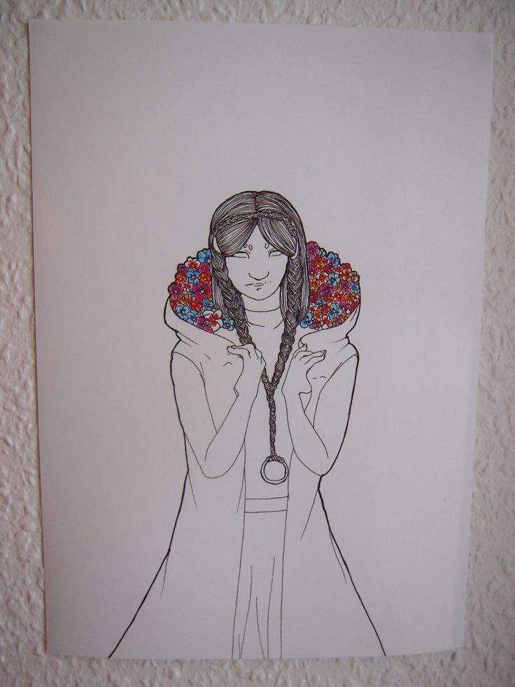 Forget Me Not Flowers in a lady's Hood A4 Digital Print by Anorichan on Etsy