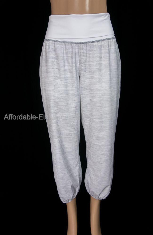 LULULEMON Om Pant 12 L Commuter Denim White Fossil Folding Waist Gym Yoga #Lululemon #PantsTightsLeggings