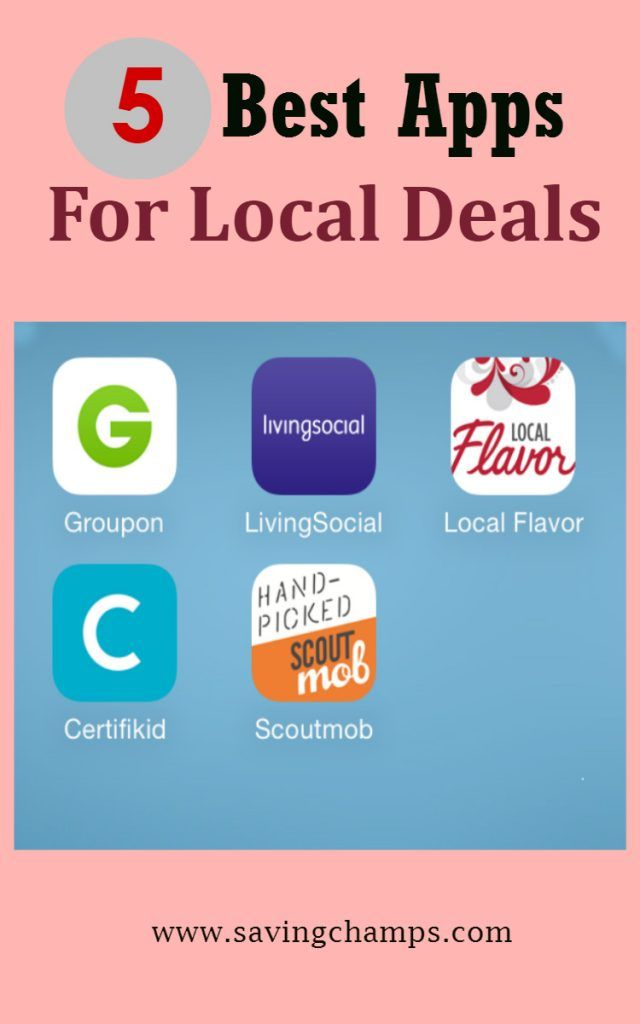 Five best local deal apps for finding deals in local areas. Save money on restaurants, entertainment, education, family activities, etc. Money-saving tips.